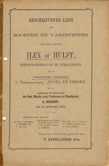 Beschrijvende lijst Ilex of Hulst